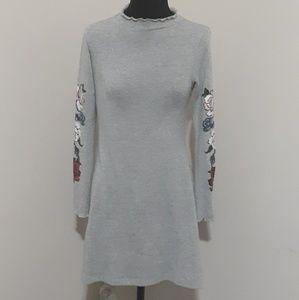 Ultra Flirt Grey Mock Turtleneck Sweater Dress S